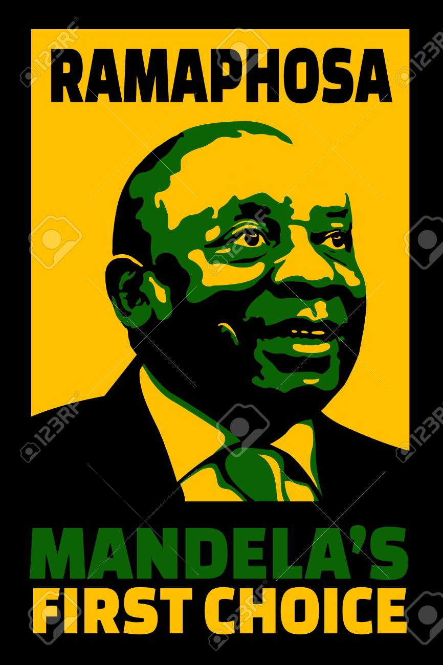 JOHANNESBURG, SOUTH AFRICA - 18 December 2017 - Illustration poster of first choice by Mandela of Ramaphosa to succeed him as head of ANC. Stock Photo - 91926866