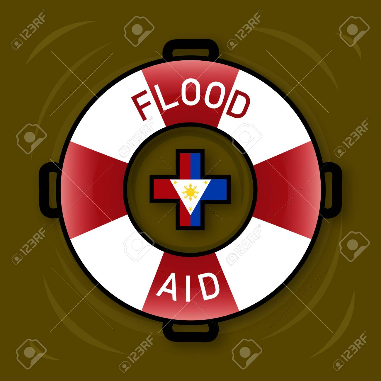Illustration of Flood Aid Symbol for flooding in Philippine Islands. Stock Illustration - 92352140