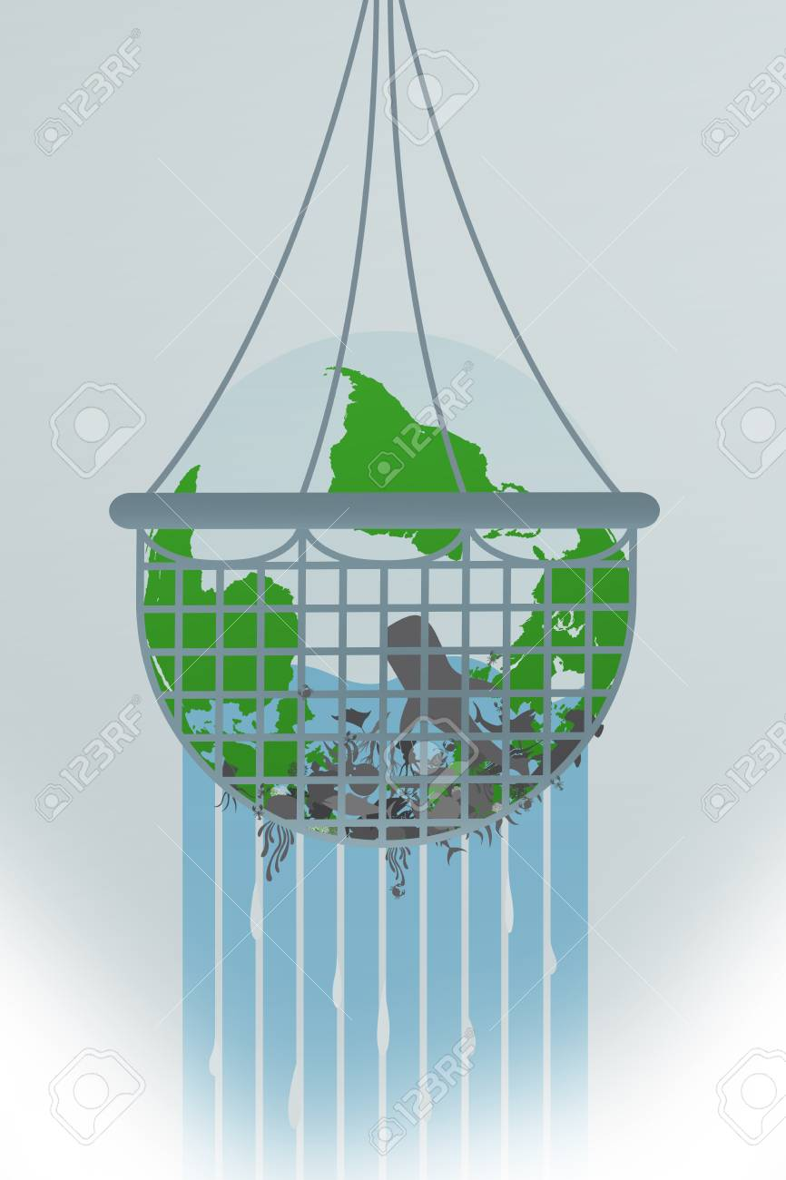 Illustration of earth being over-fished. Stock Illustration - 92399454