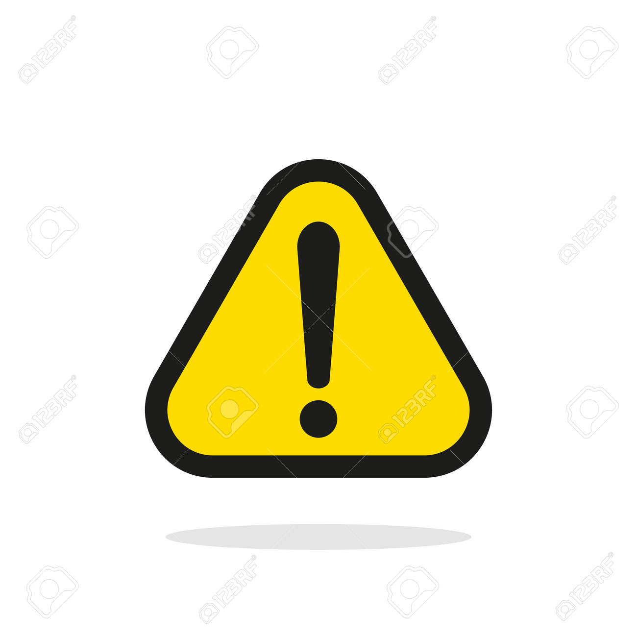 Warning sign, Yellow warning sign, Warning sign Icon, Warning sign on white, Warning sign vector, Warning sign illustration. Triangle warning sign - 57936437