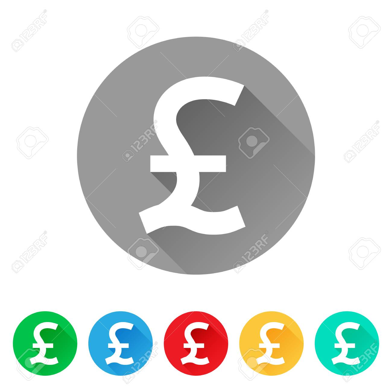 Gbp Set Of Pound Sign Icons Currency Symbol Royalty Free Cliparts
