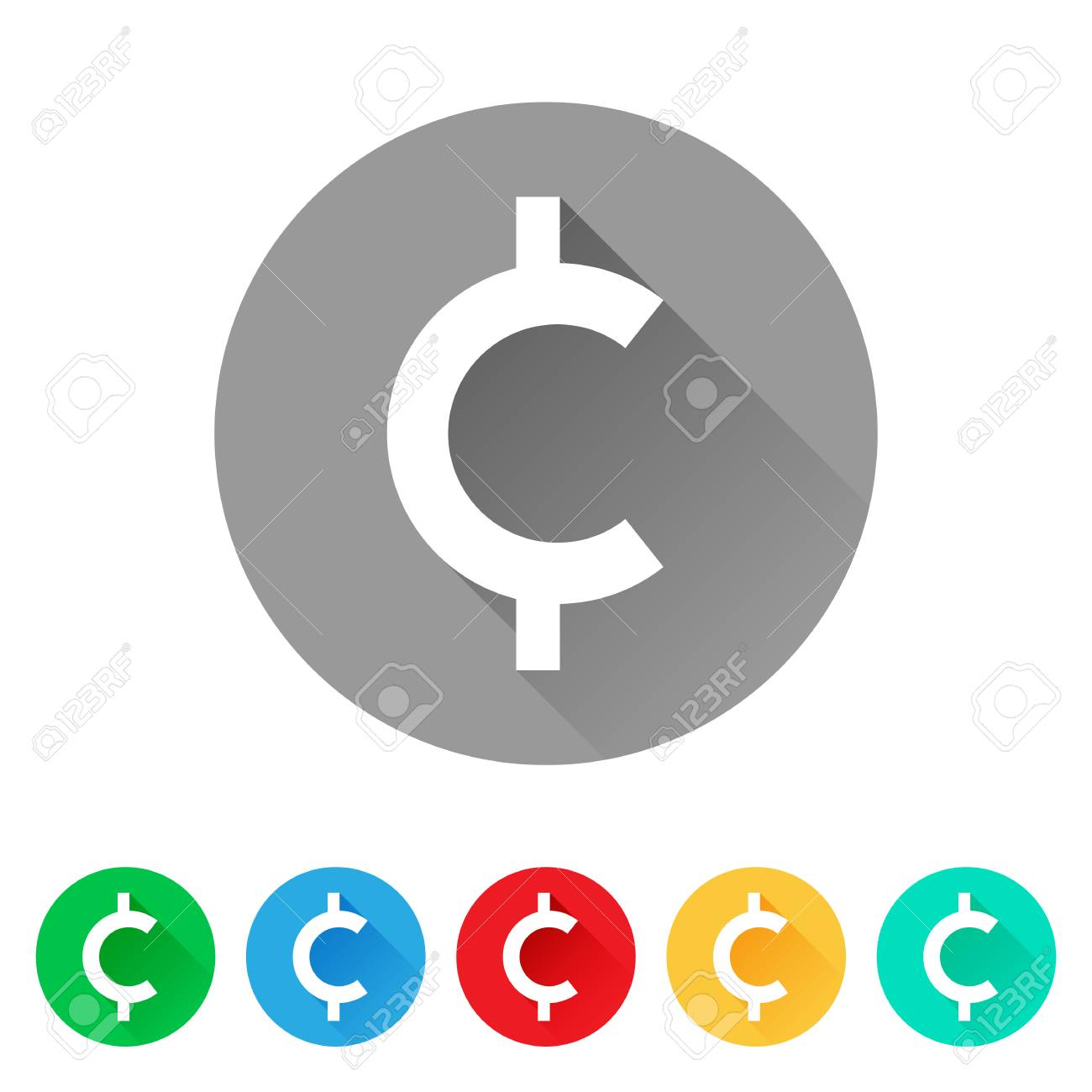 Set Of Cent Sign Icons Currency Symbol Royalty Free Cliparts