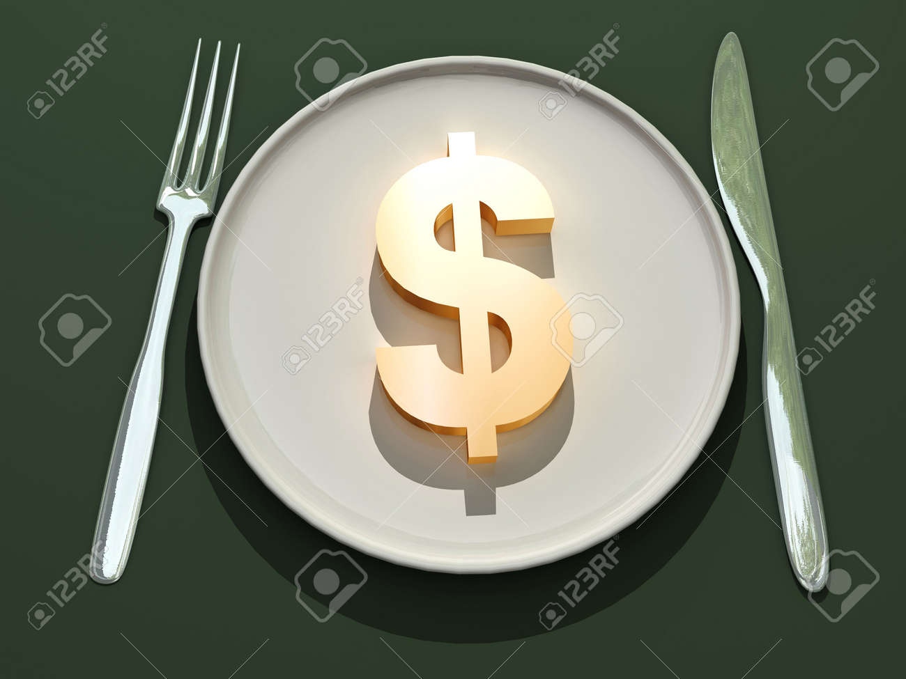 3d Dollar Drawing On A Plate