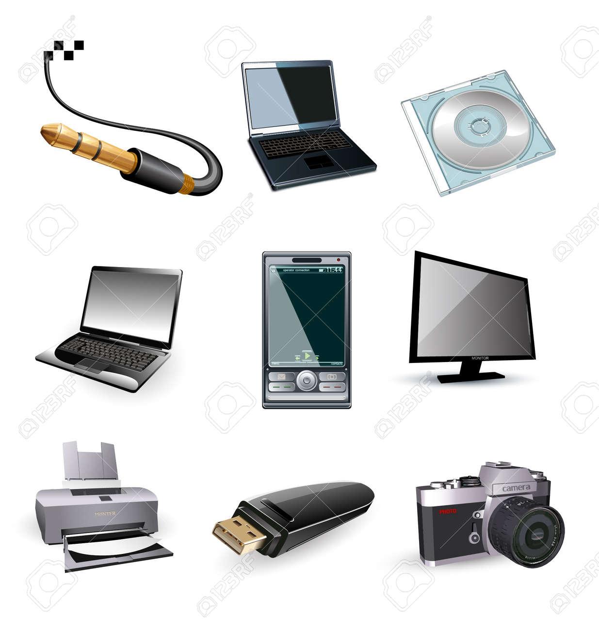 Icons of computer vector electronic: tv, printer, laptop, photo Stock Vector - 10502566