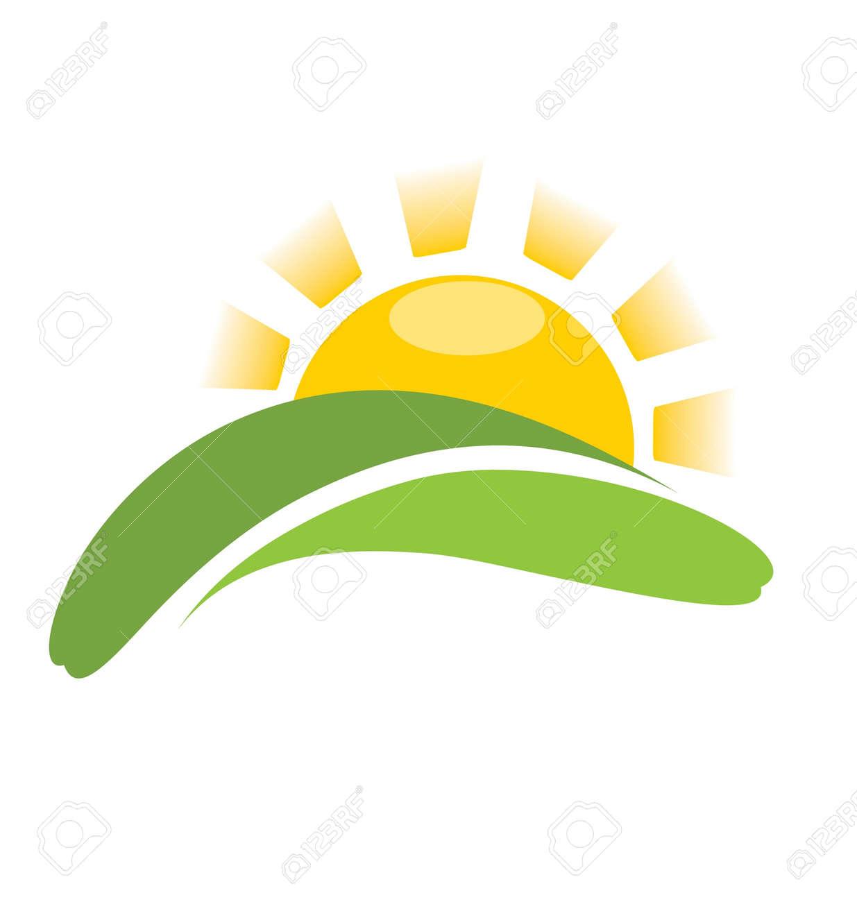 sunrise vector sun icon on field royalty free cliparts vectors rh 123rf com Sunshine Vector Free Free Vector Feather