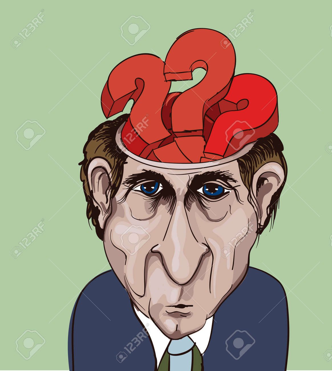 Conceptual vector illustration. Adult businessman and question marks inside his head. Choice problems Stock Vector - 11204982