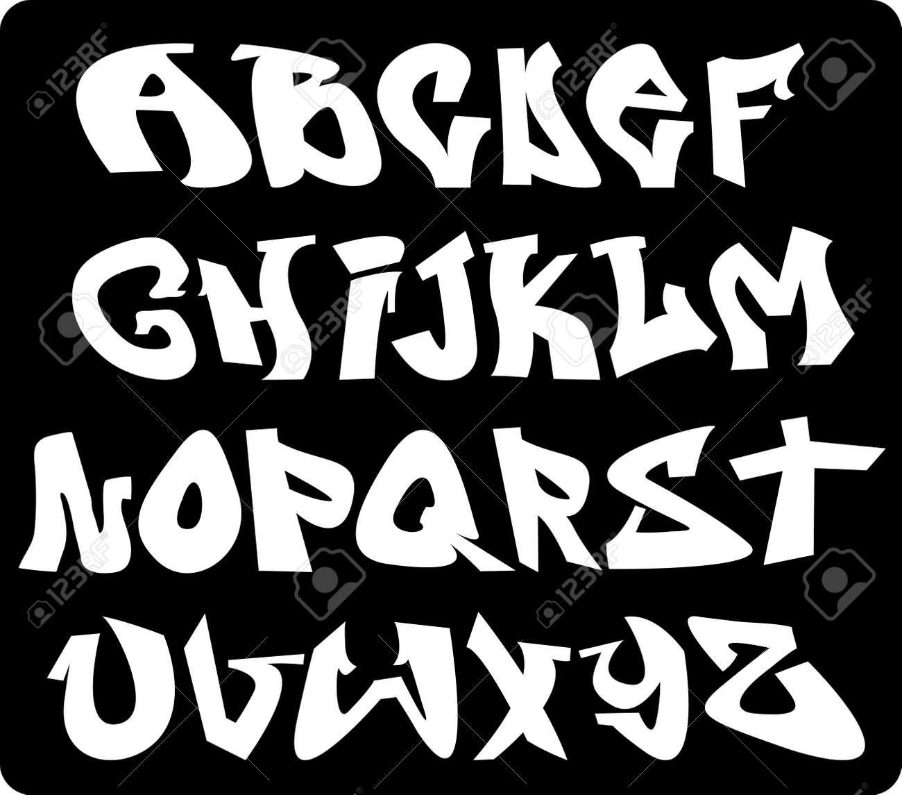 Foto de archivo , Graffiti alfabeto fuente, las letras abc