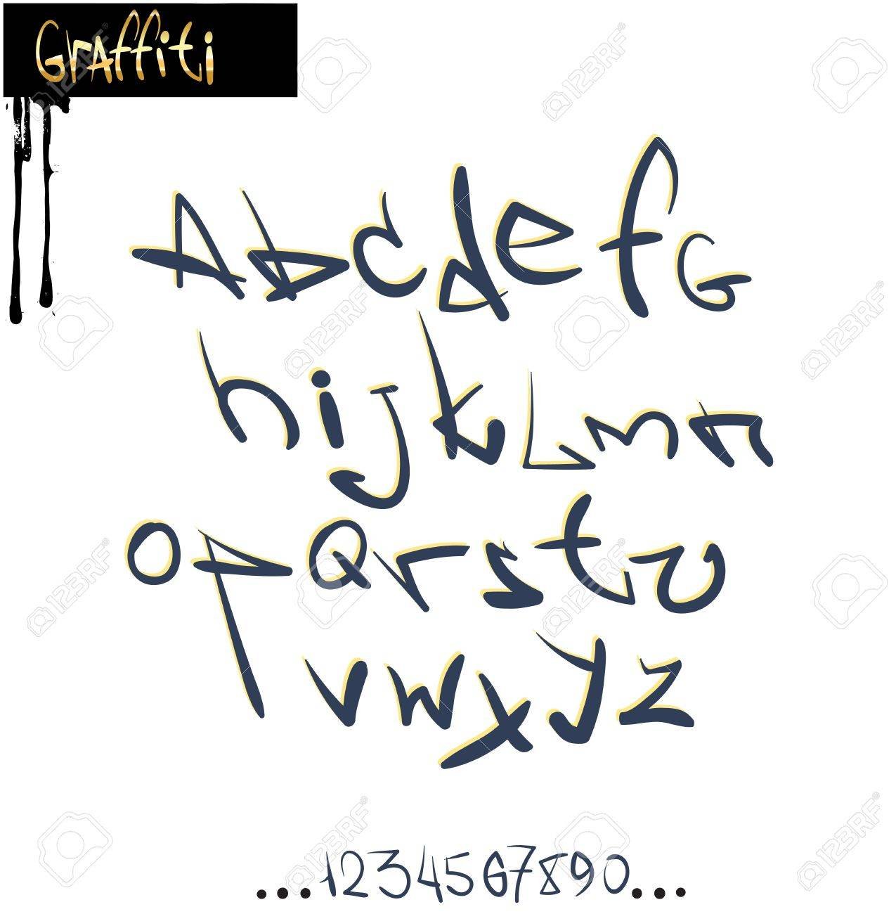 Graffiti font alphabet, abc letters Standard-Bild - 11486047