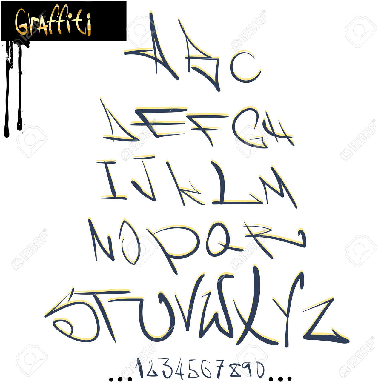 Graffiti Font Alphabet Abc Letters Stock Vector