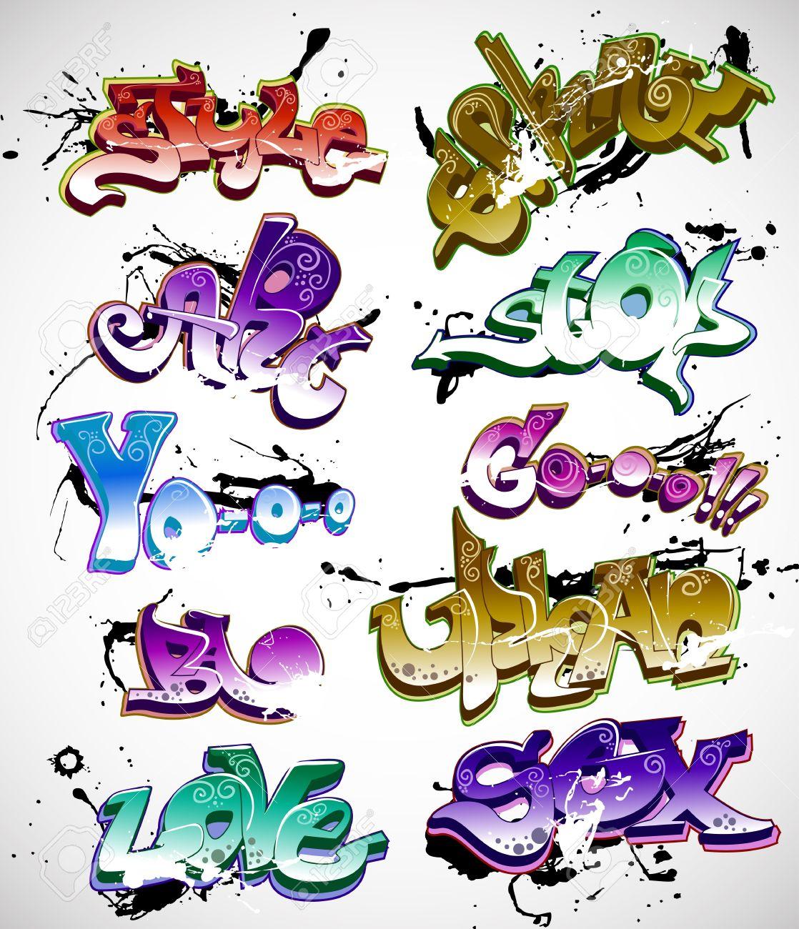 Graffiti urban art vector set stock vector 11485954