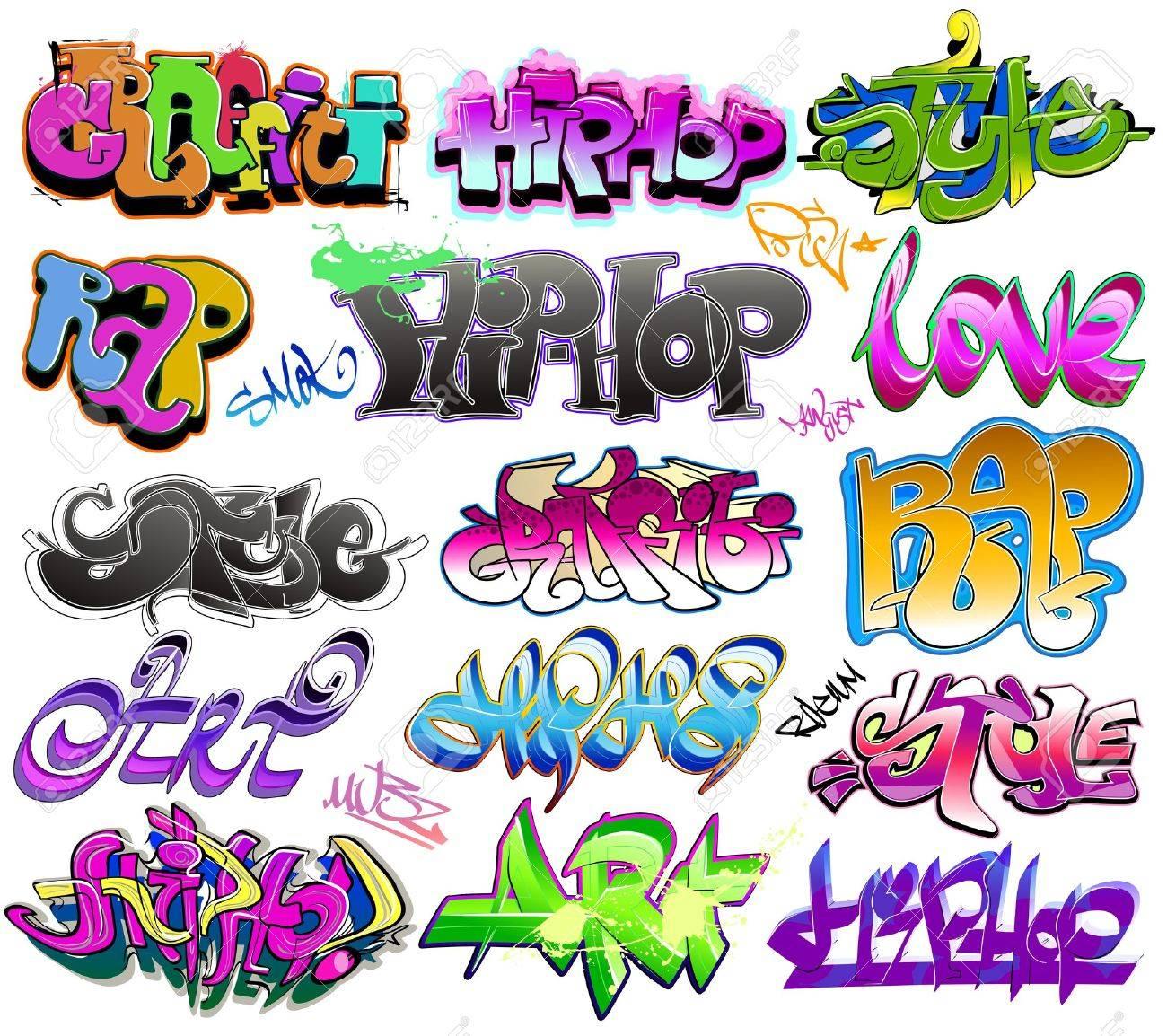 Graffiti urban art vector set stock vector 11485958
