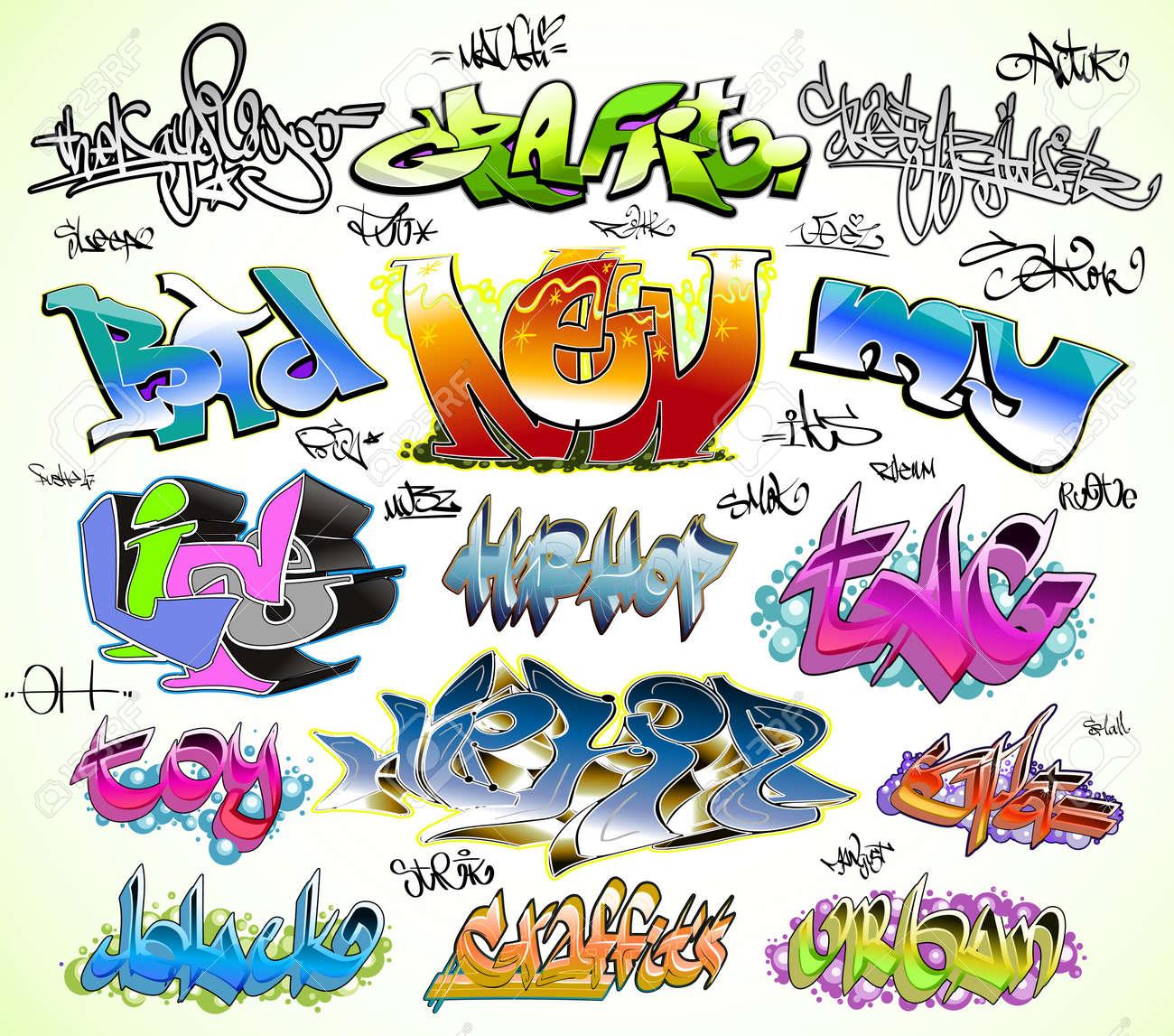 Graffiti urban art vector set stock vector 11485957