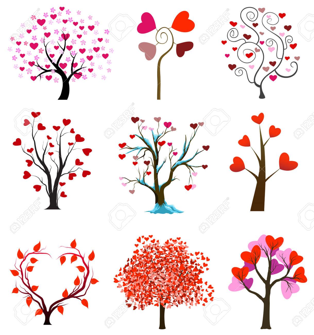 Le encantan los árboles concepto con el corazón. Día de San Valentín o los vectores de la boda Foto de archivo - 11656607