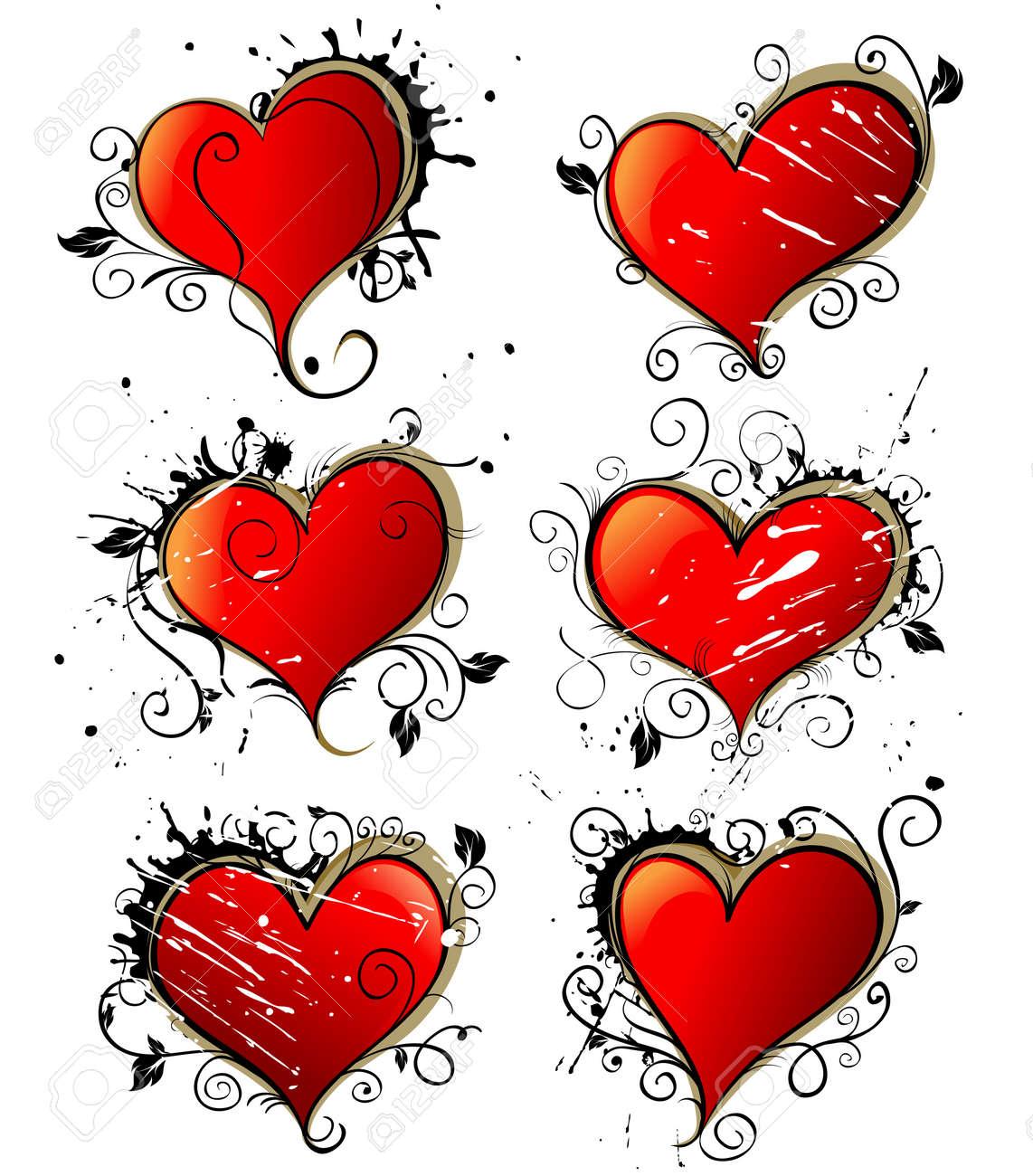 Hearts Love Vector Grunge Decoration Graffiti Style