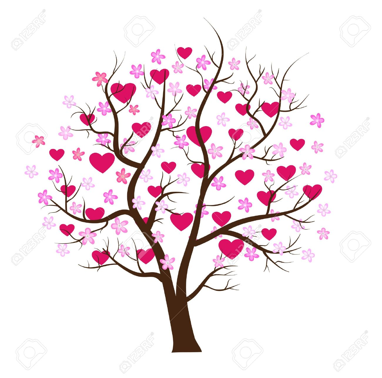 Valentine Day Tree Love Vector Concept Royalty Free Cliparts