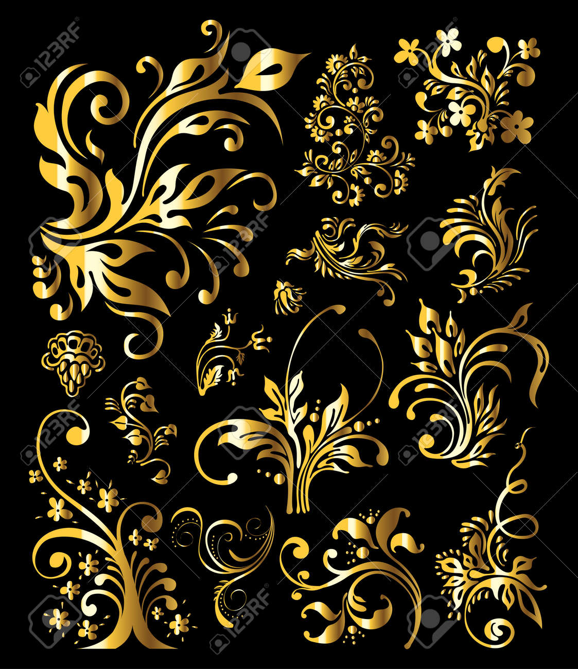 Floral Ornament Set of Vintage Golden Decoration Elements Stock Vector - 12195902