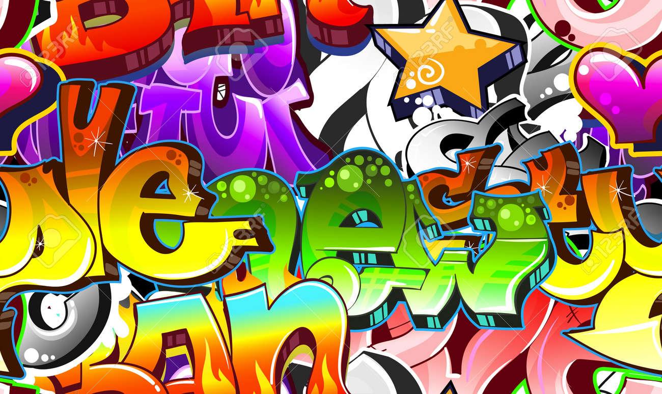 Graffiti urban art background seamless design stock vector 12195956