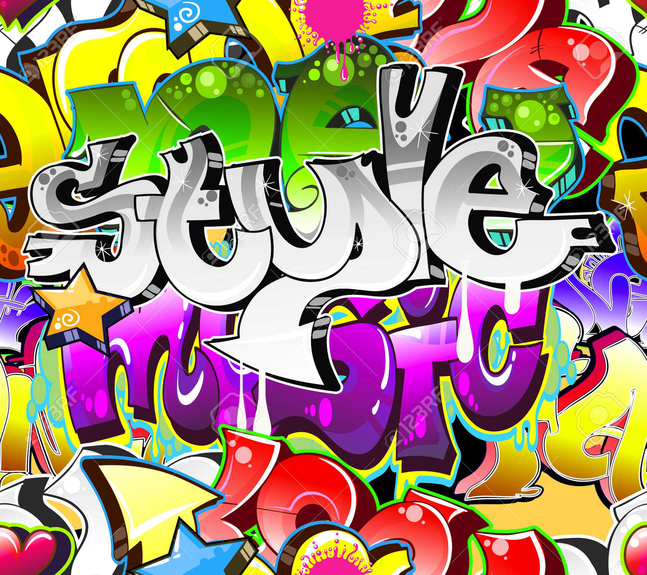 Graffiti art design - Graffiti Urban Art Background Seamless Design Stock Vector 12195957