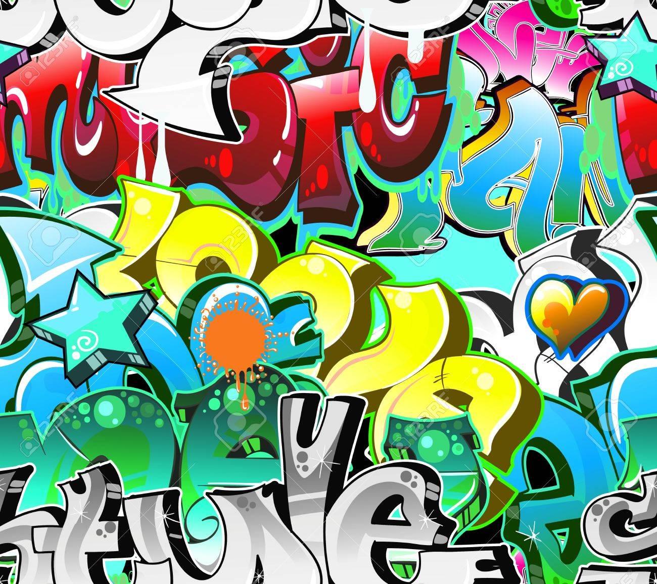 Graffiti urban art background seamless design stock vector 12195959