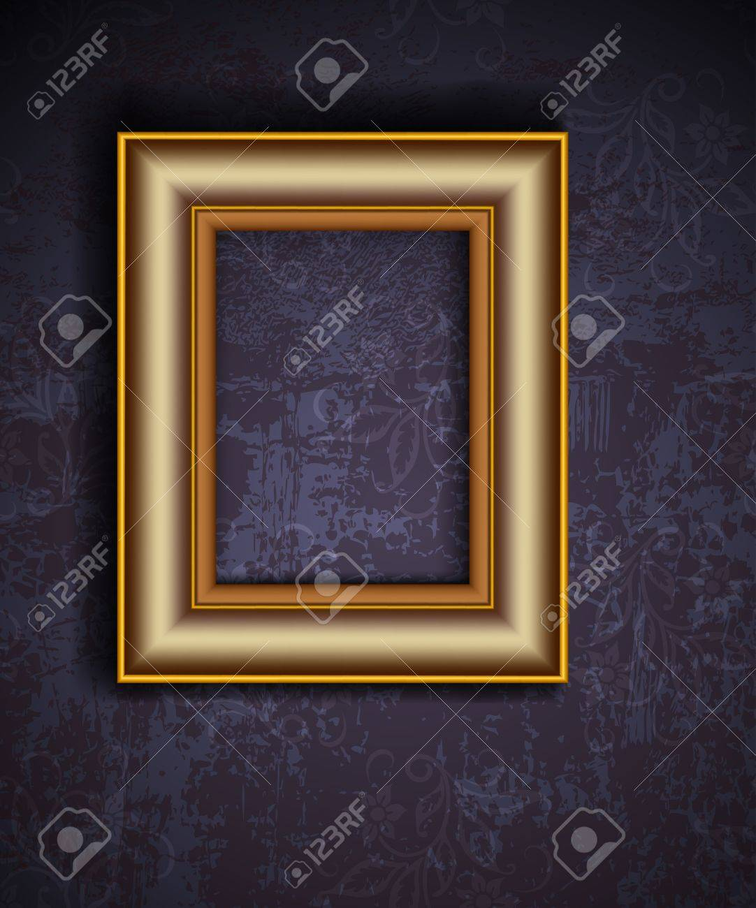 Picture frame on grunge wall vector vintage design Stock Vector - 12486188