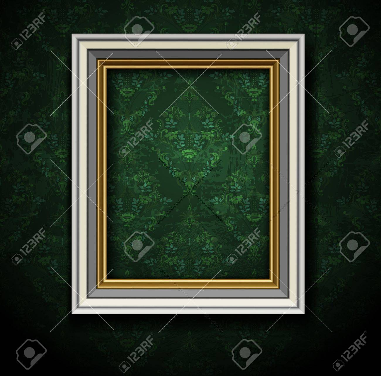Picture frame on grunge wall vector vintage design Stock Vector - 12486186