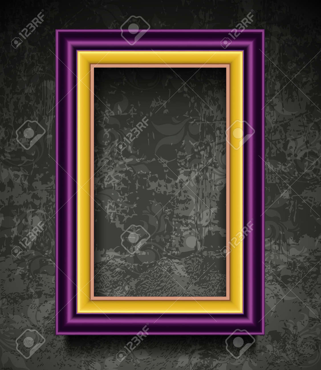 Fashion Picture Frame on Grunge Wall Stock Vector - 12486232
