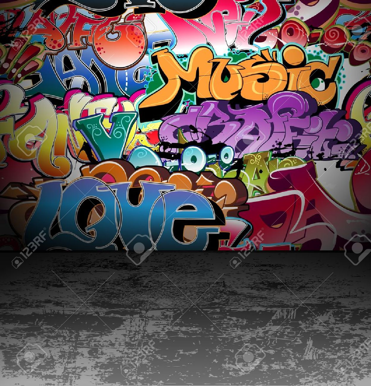 Graffiti wall vector free - Graffiti Wall Urban Background Stock Vector 12486239