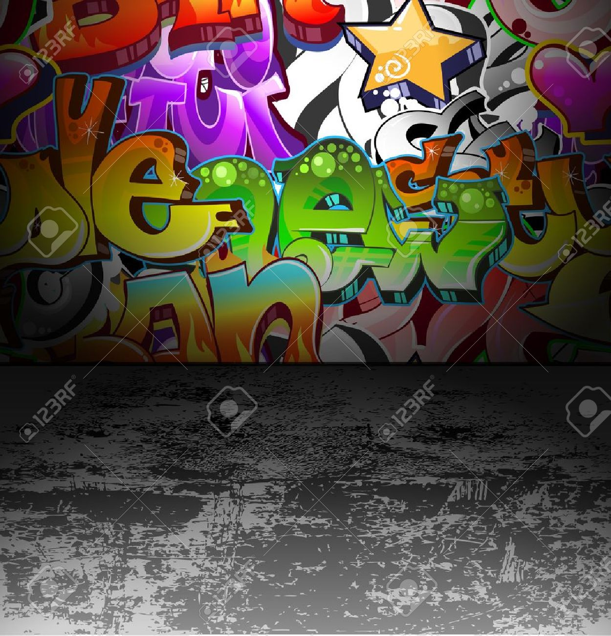 Graffiti wall vector free - Graffiti Wall Urban Background Stock Vector 12486236