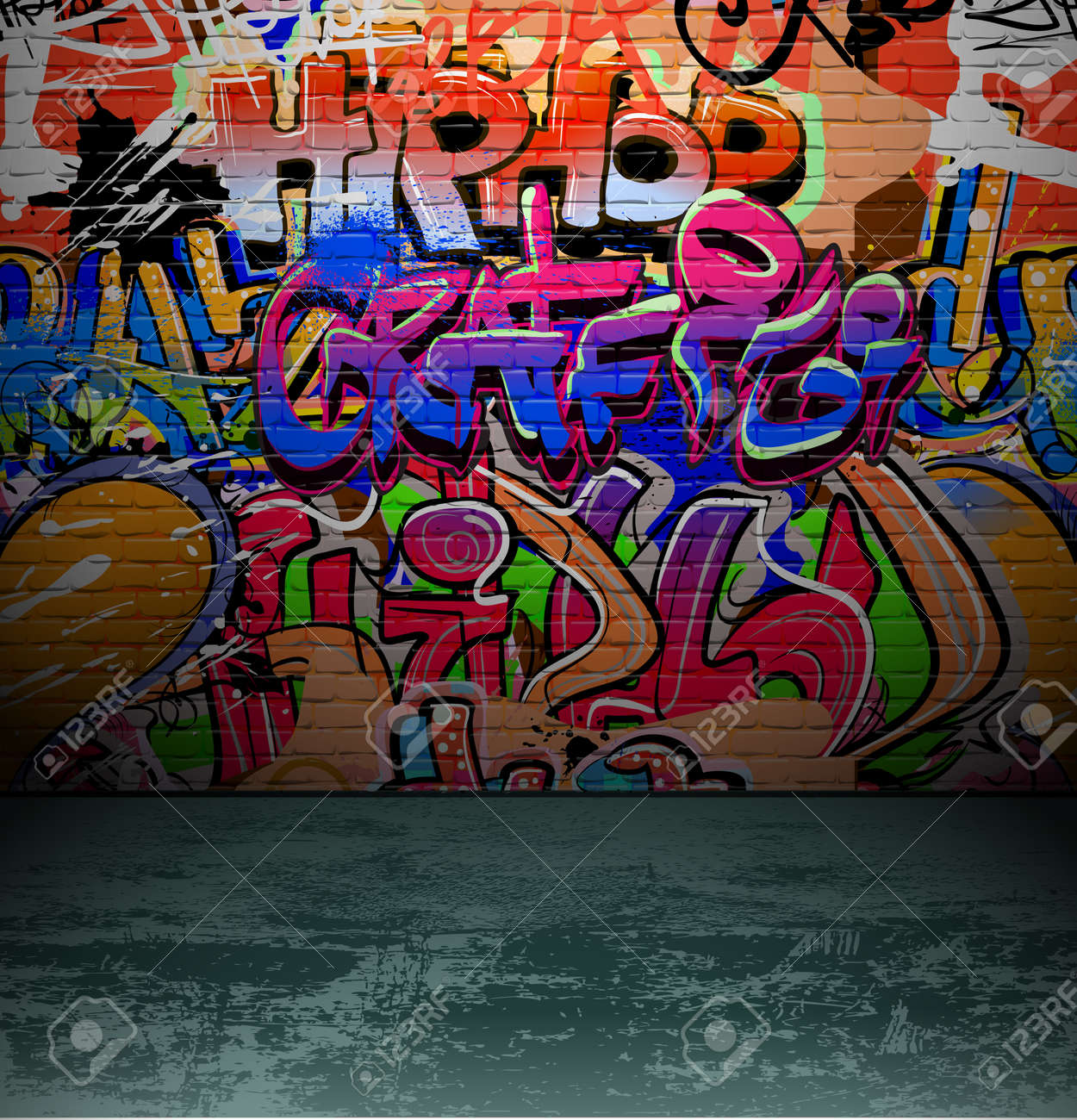 Grafitti wall background - Graffiti Wall Background Urban Street Grunge Art Vector Design Stock Vector 12486245