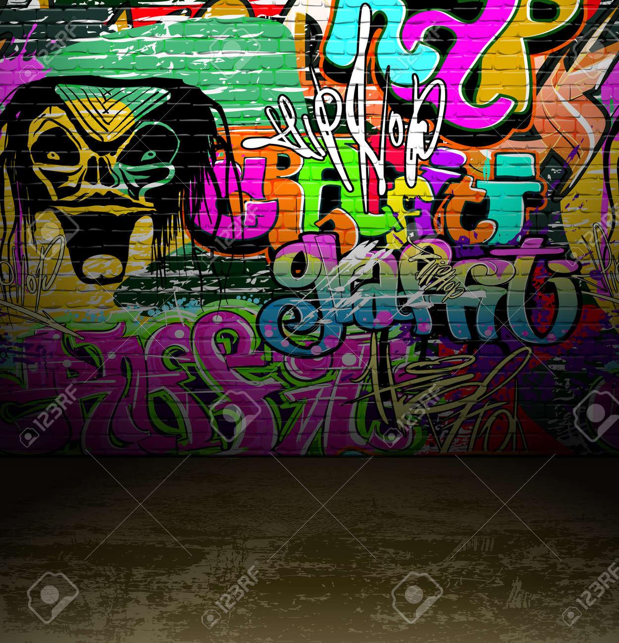 Graffiti wall vector free - Graffiti Wall Background Urban Street Grunge Art Vector Design Stock Vector 12486242