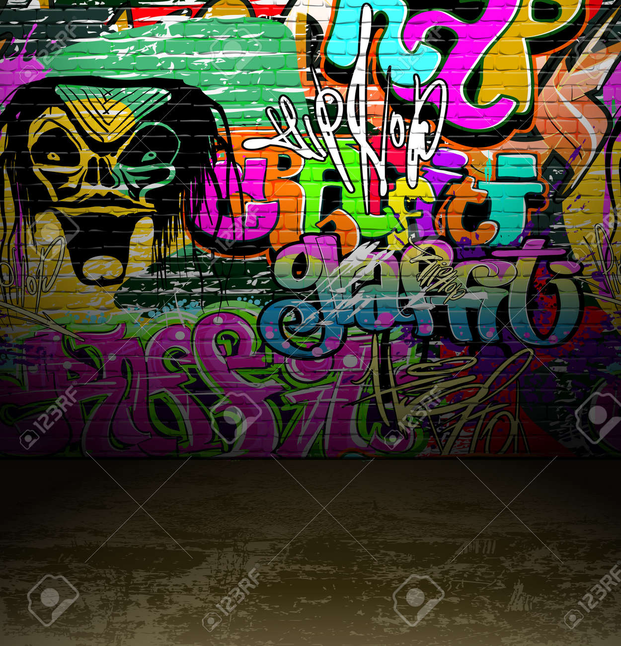 Graffiti Wall Background Urban Street Grunge Art Vector Design Stock