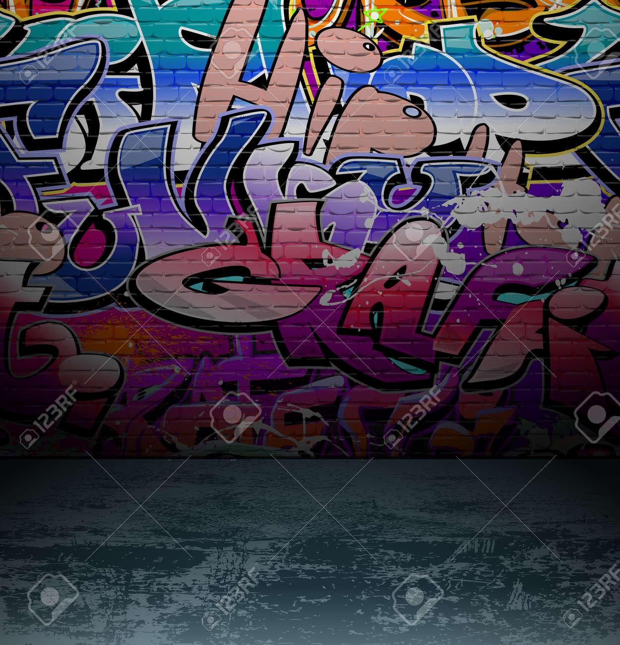 Graffiti wall vector free - Graffiti Wall Background Urban Street Grunge Art Vector Design Stock Vector 12486244
