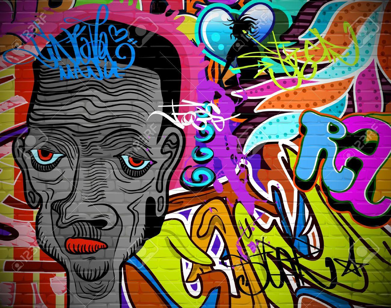 Graffiti Wall Urban Art Background Grunge Hip Hop Artistic Design Stock Vector