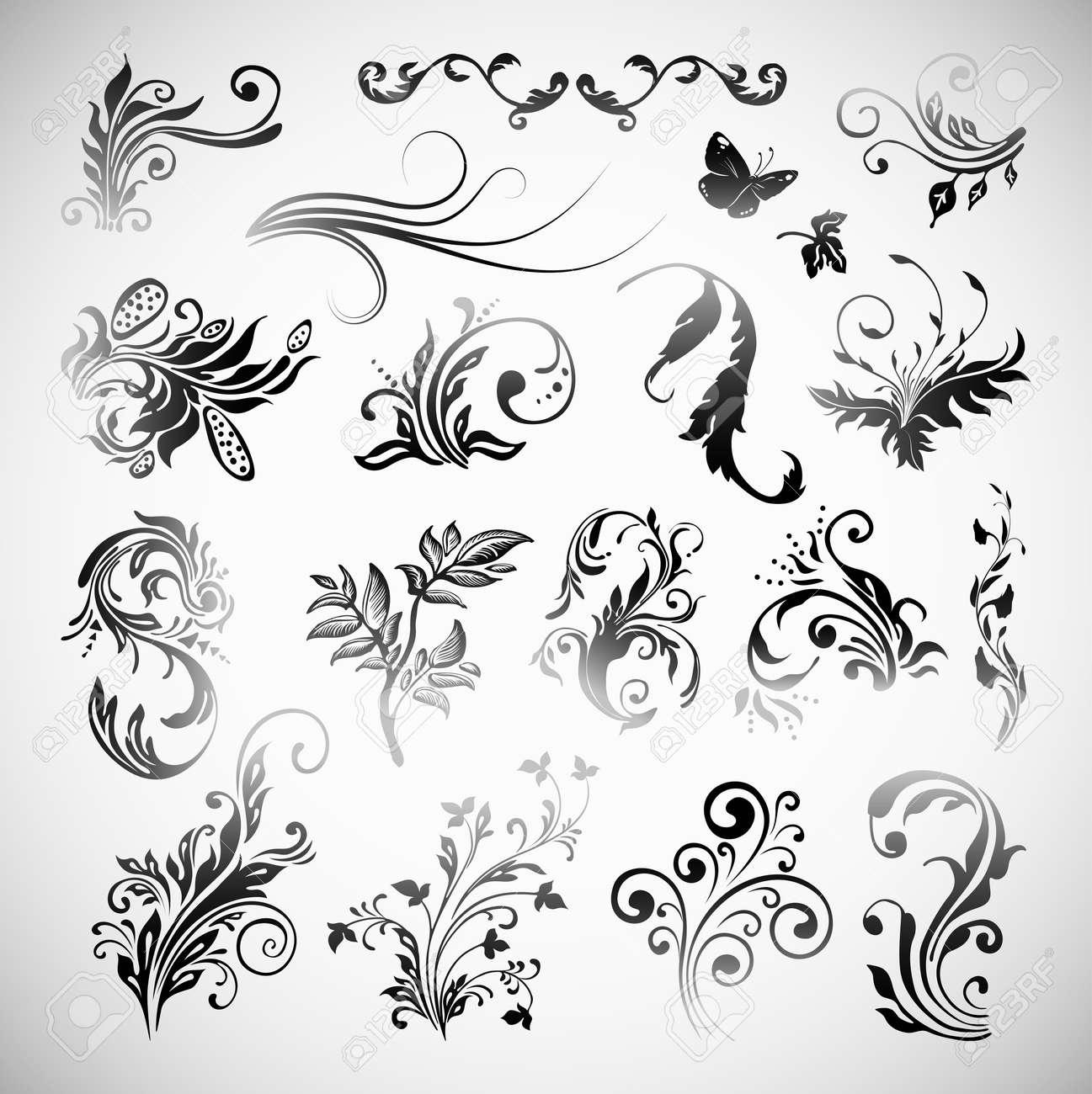 Ornament Flowers Vintage Design Elements Stock Vector - 15654710