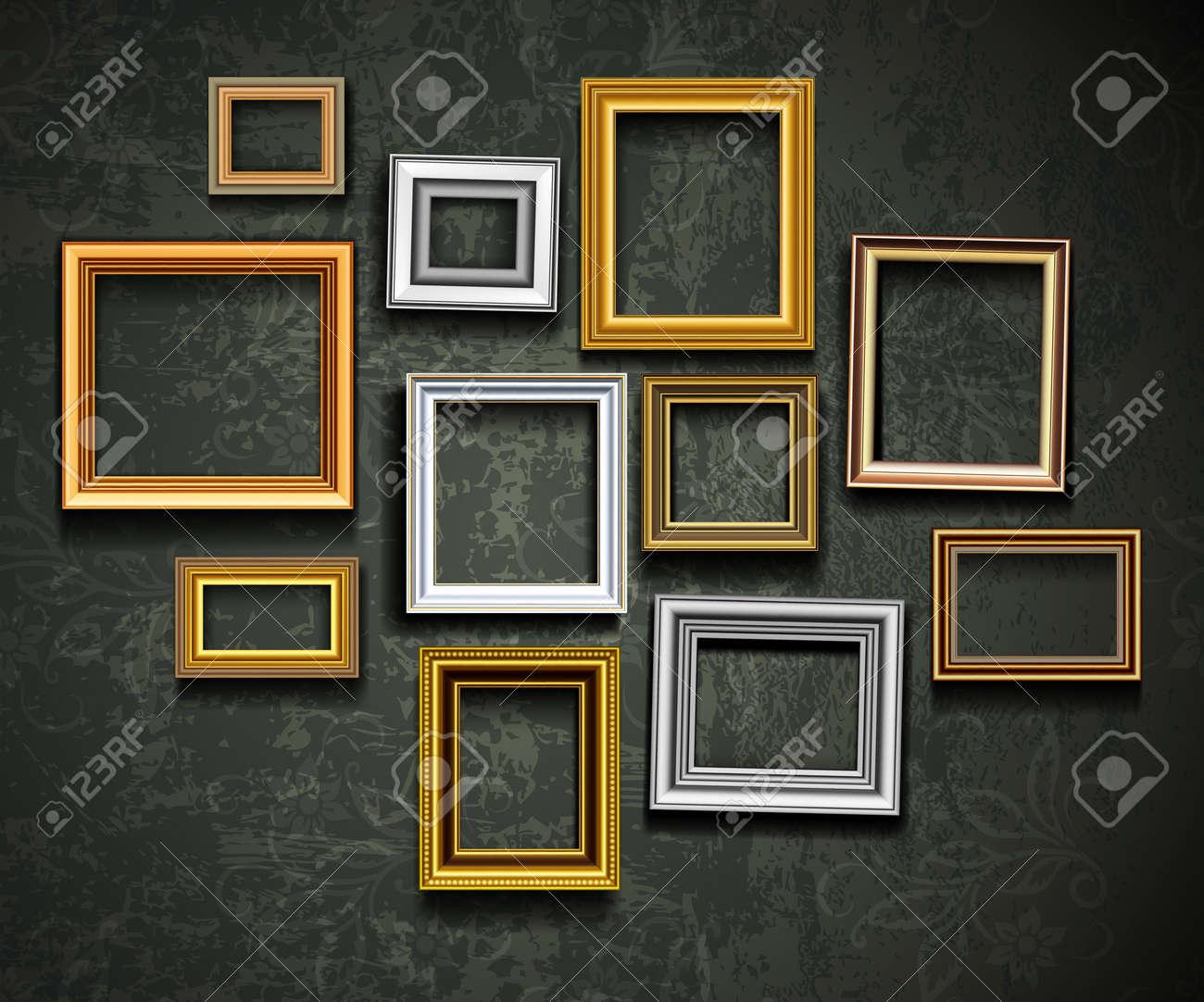 Imagen Vectorial Marco. Galería De Arte En La Pared De La Vendimia ...