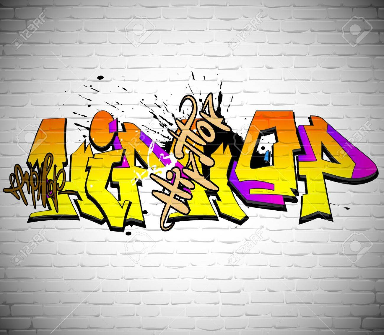 Grafitti wall background - Graffiti Wall Background Urban Art Stock Vector 17589892