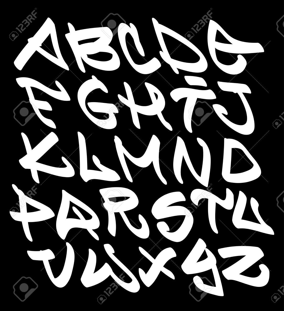 グラフィティ フォントのアルファベット文字。ヒップ ホップ型落書き