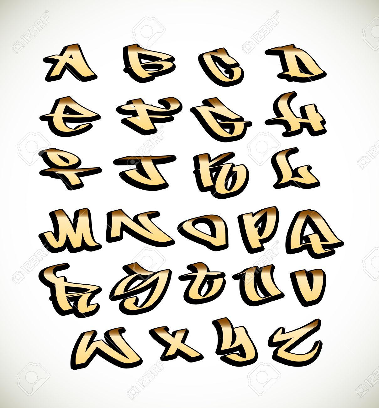 Lettres de graffiti alphabet police. Hip hop type de graffiti conception  Banque d\u0027images