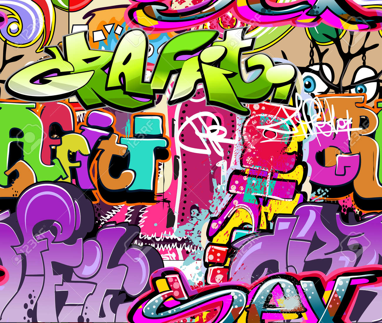 Graffiti wall vector free - Graffiti Wall Graffiti Wall Urban Art Vector Background Seamless Hip Hop Texture Illustration