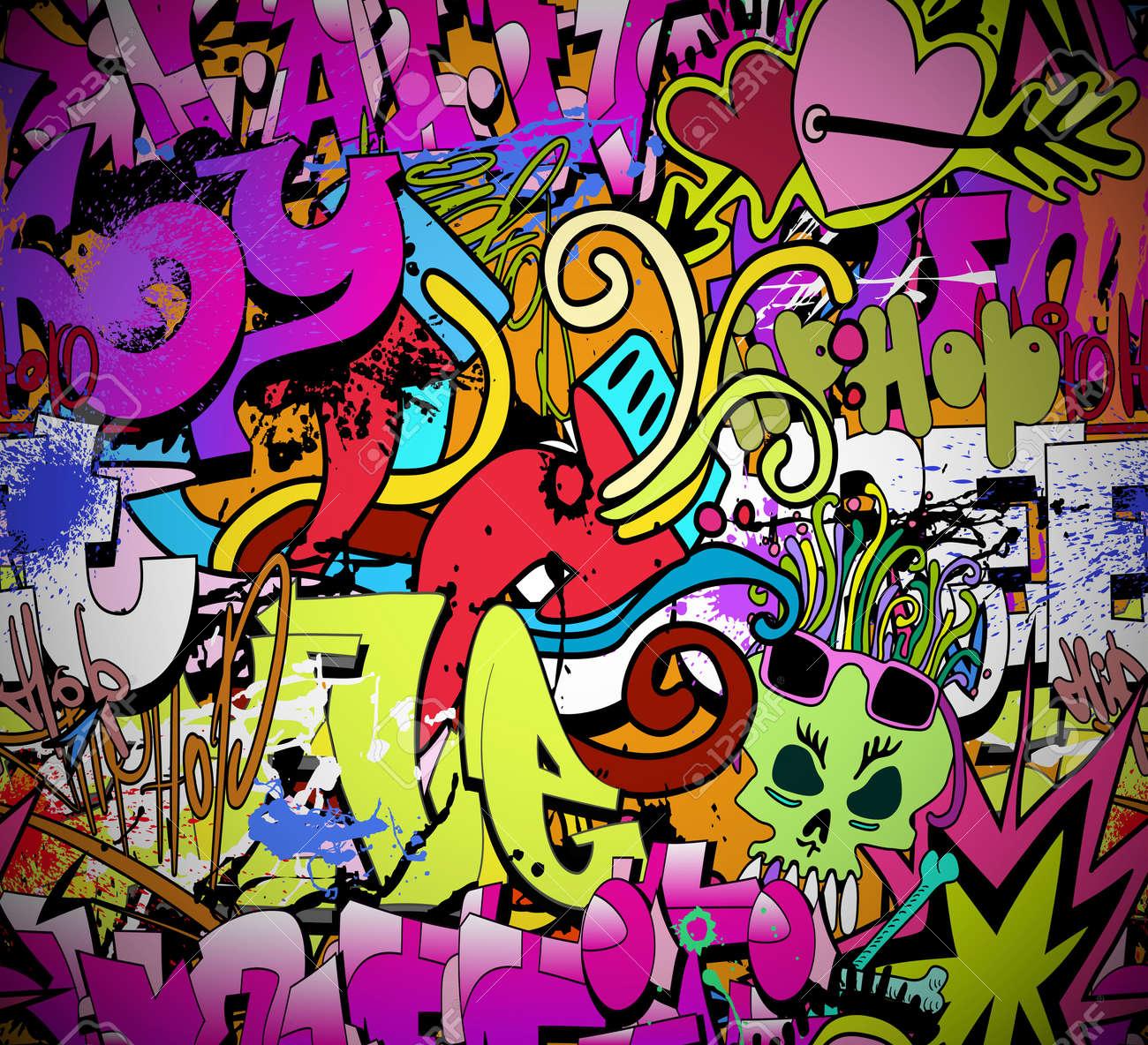 Graffiti art background - Graffiti Wall Art Background Hip Hop Style Seamless Texture Pattern Stock Vector 18120296