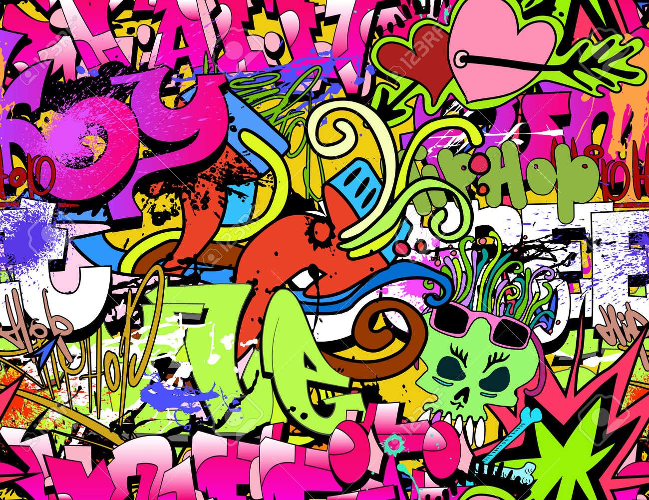 Graffiti art background - Graffiti Background Graffiti Wall Art Background Hip Hop Style Seamless Texture Pattern Illustration