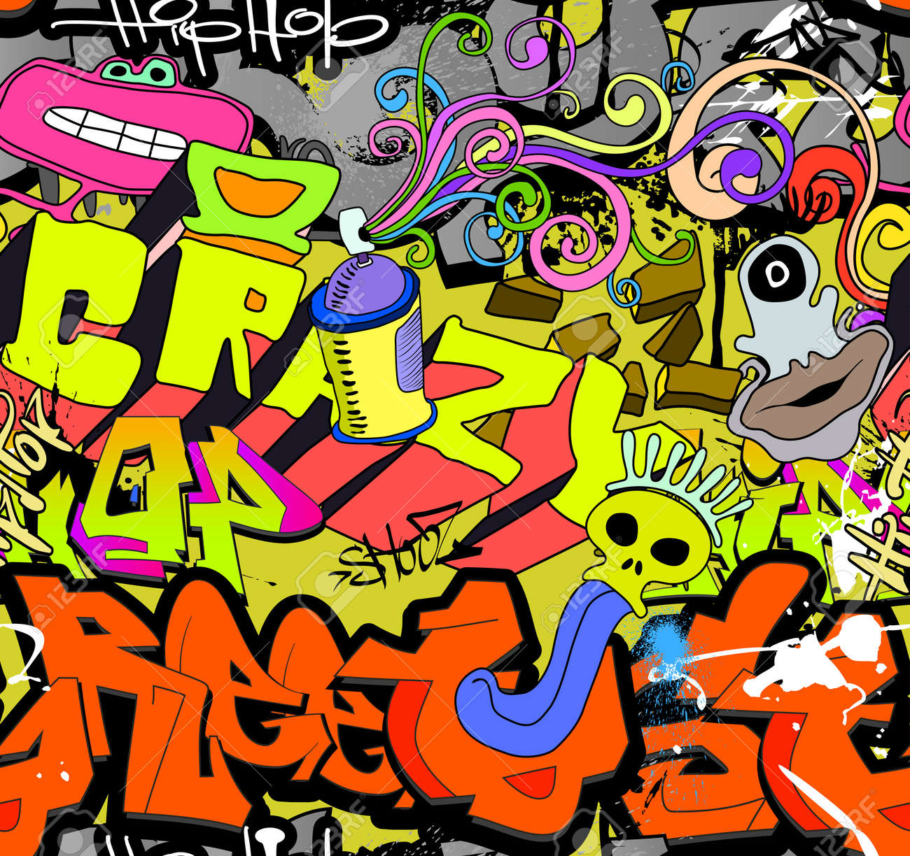 Graffiti wall art background  Hip-hop style seamless texture pattern Stock Vector - 18120220