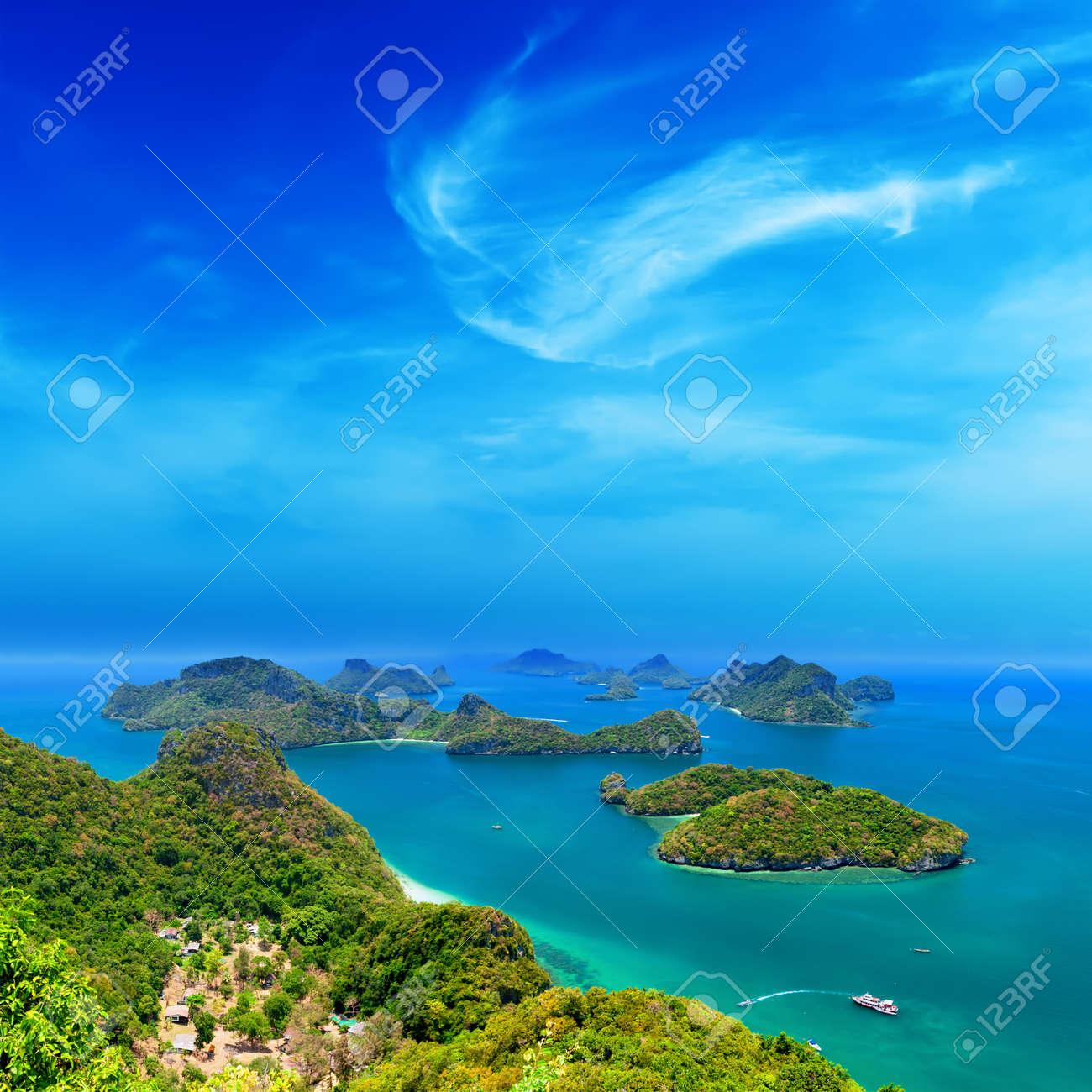 Tropical island nature, Thailand sea archipelago aerial panoramic view  Ang Thong National Marine Park near ko Samui Stock Photo - 19258722