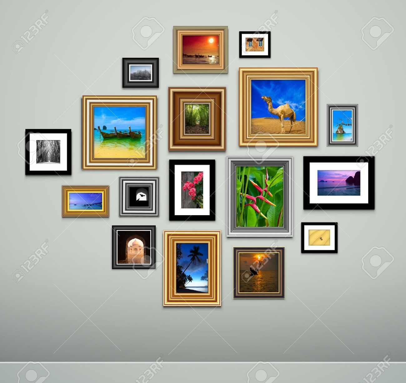 photo frames on wall vector vintage picture frames royalty free