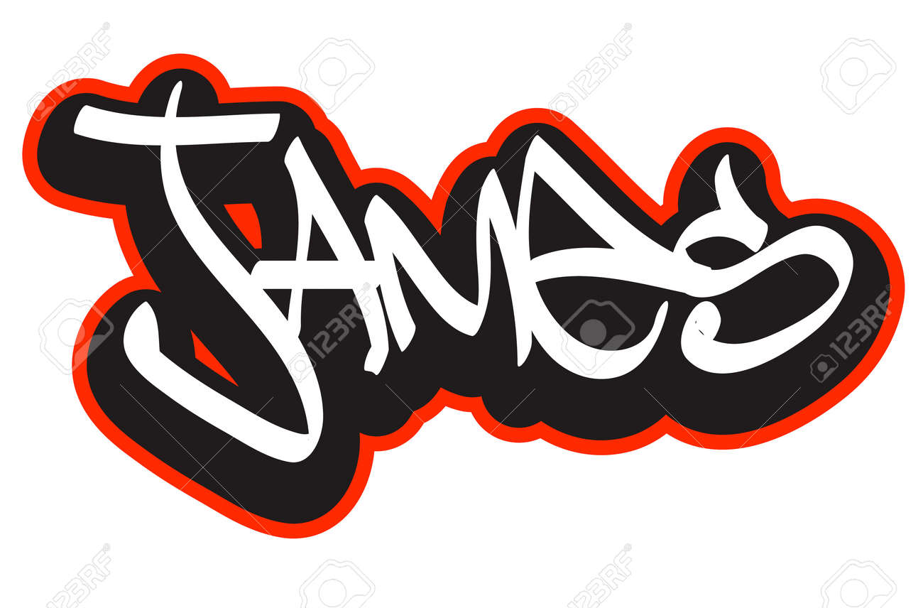 T shirt design hip hop - Graffiti Font Style Name Hip Hop Design Template For T Shirt Sticker Or