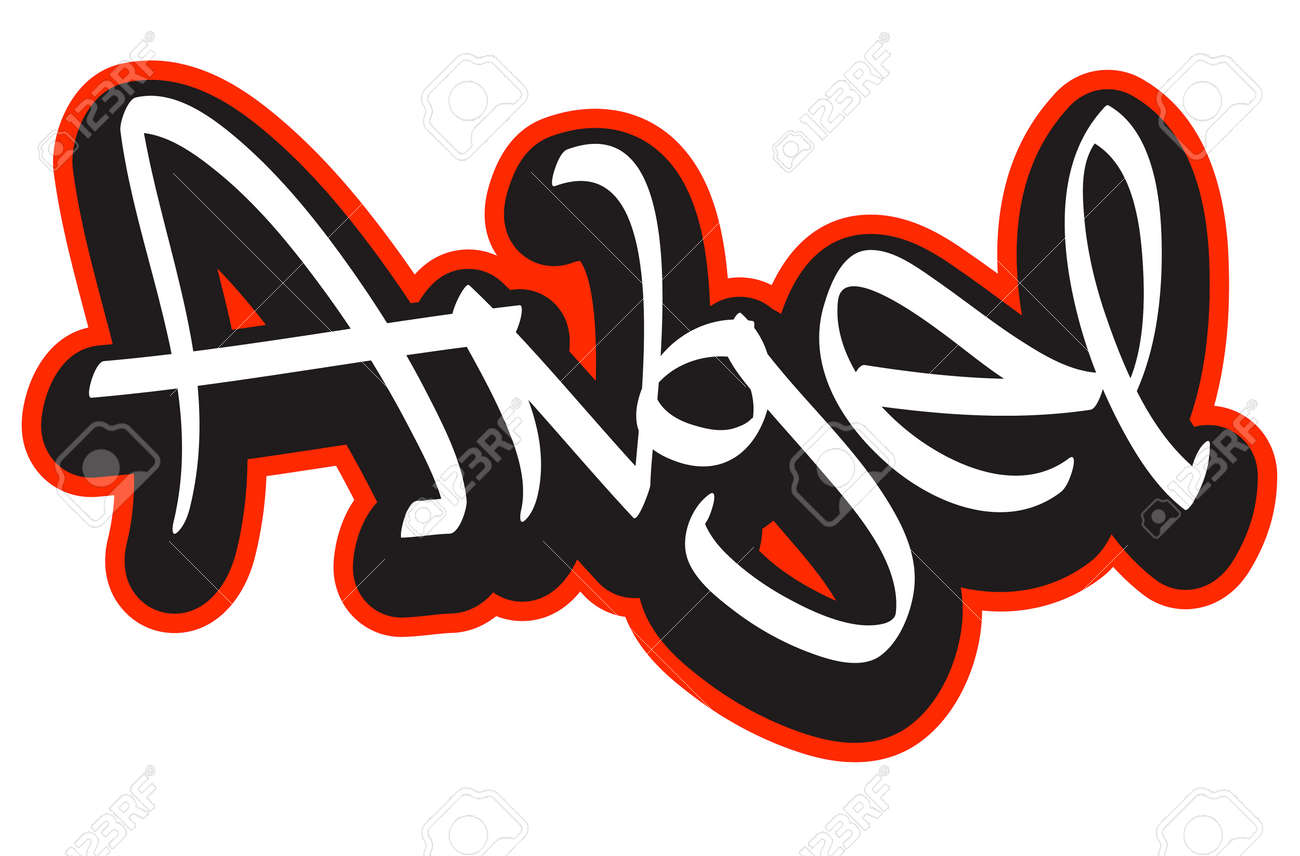 Angel Graffiti Font Style Name Hip Hop Design Template For T Shirt