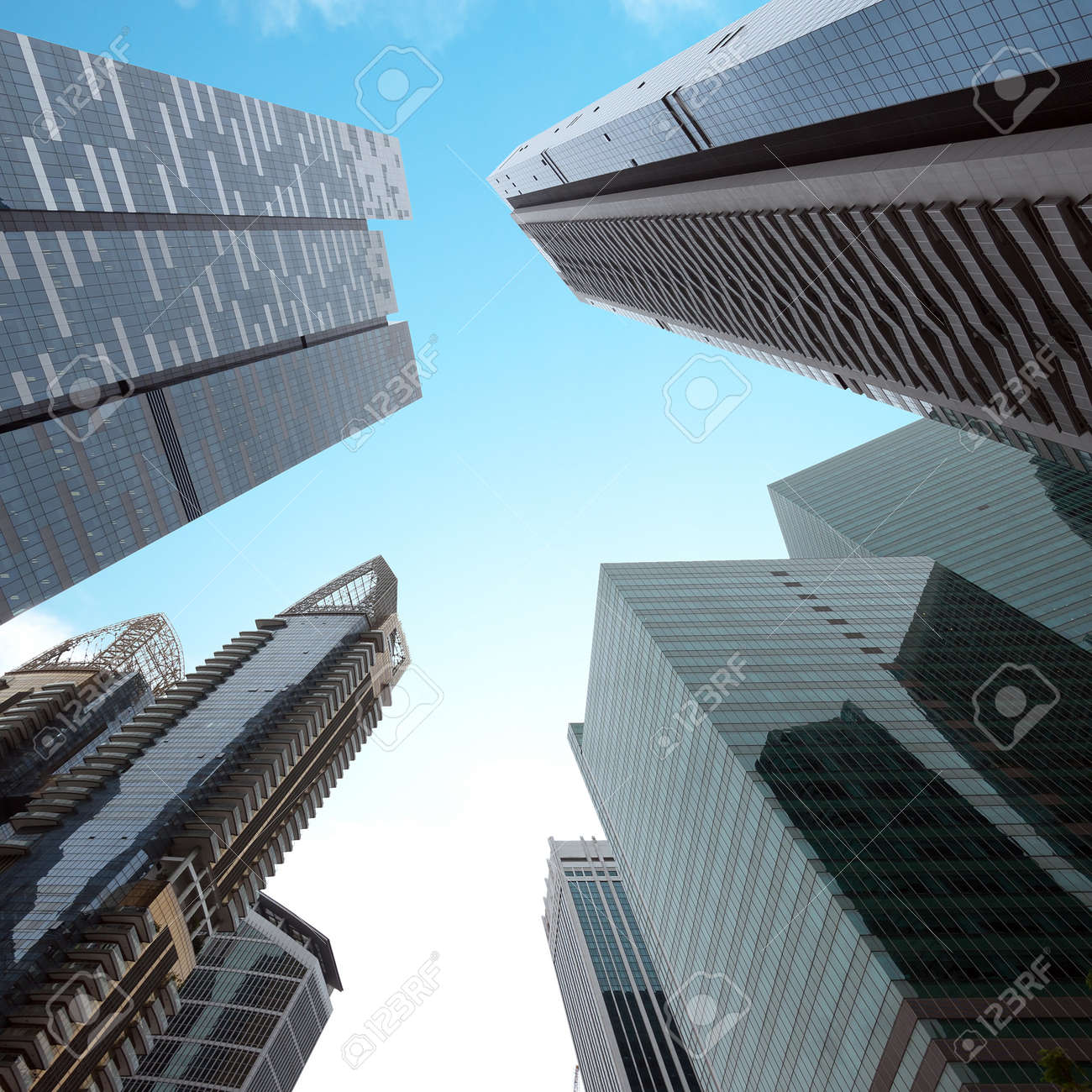 Urban Modern Business Buildings Perspective View. Singapore ...