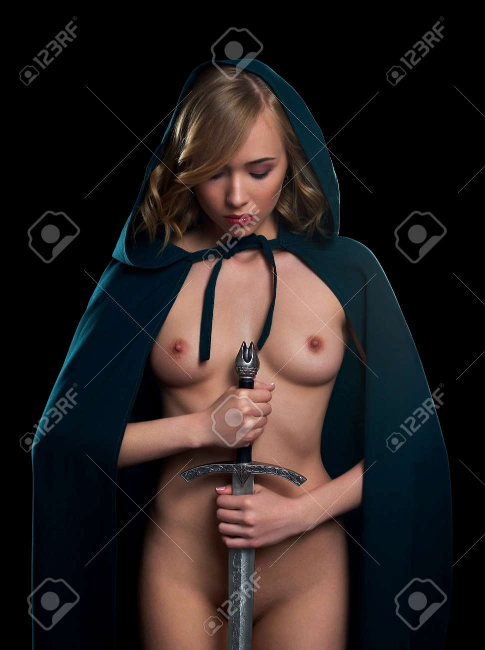Naked women sword fighting image