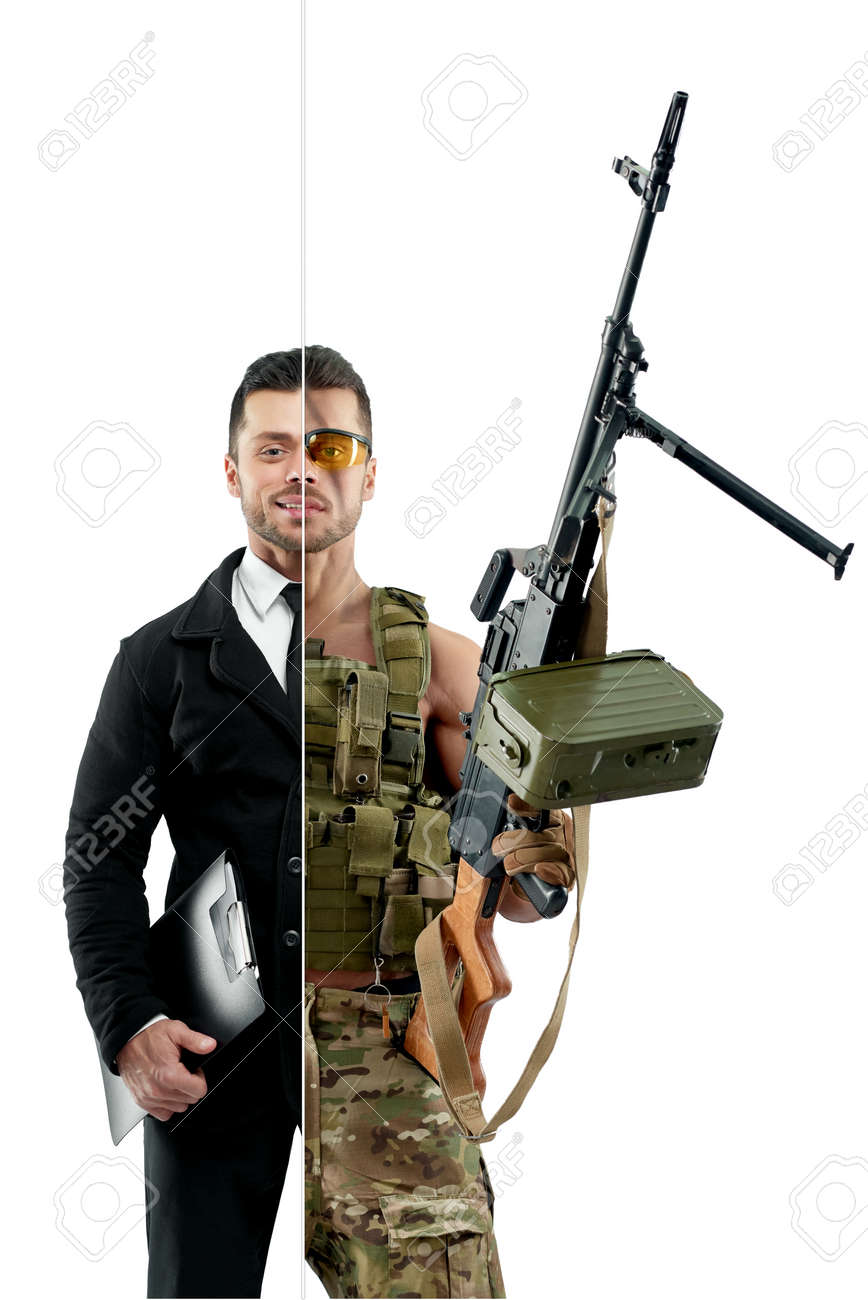 00a739a2fdb0 Comparison of businessman soldiers outlook. Businessman wearing classic  suit with white shirt, black tie