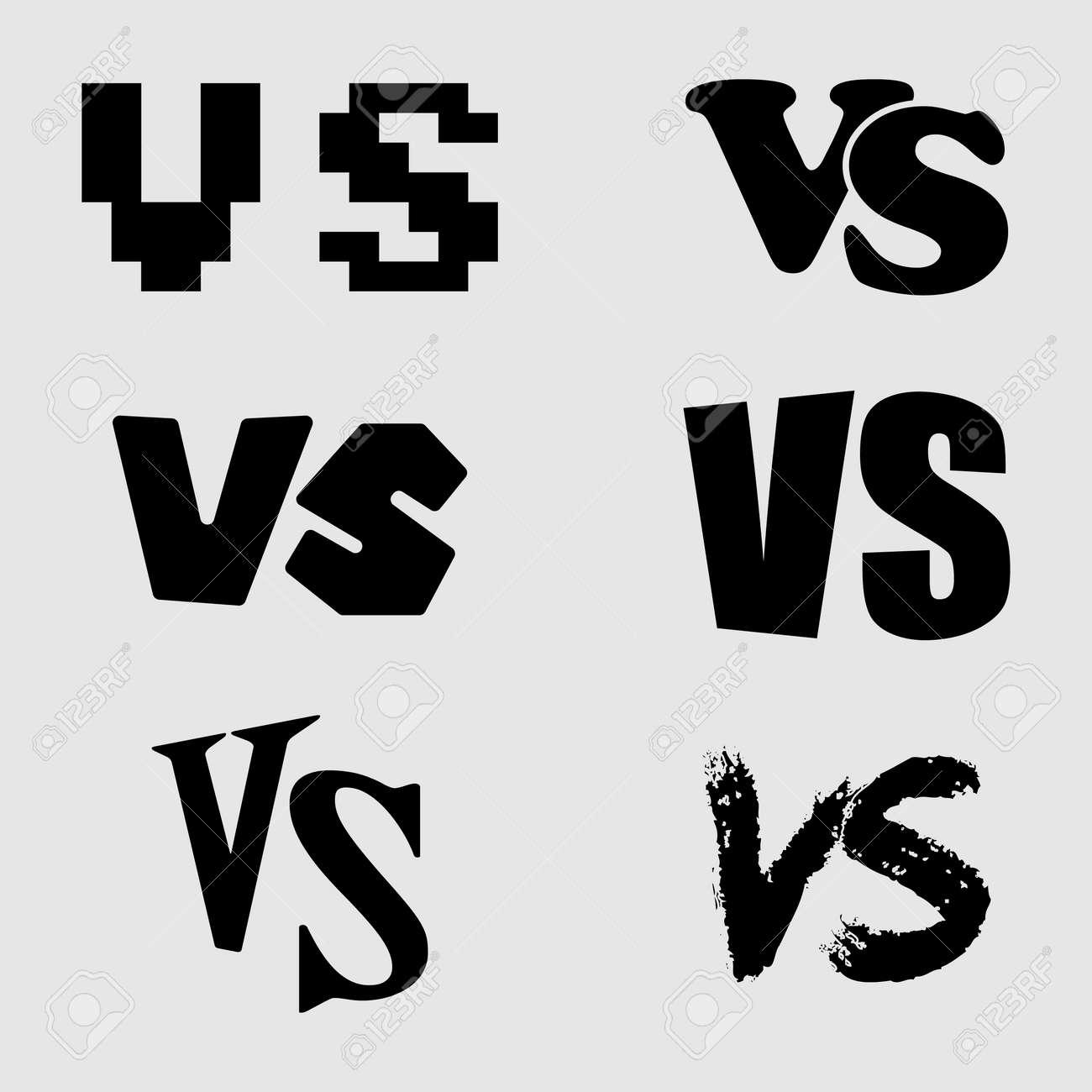 対文字アイコンを設定。コレクション VS ロゴ。ベクトルの図。の ...